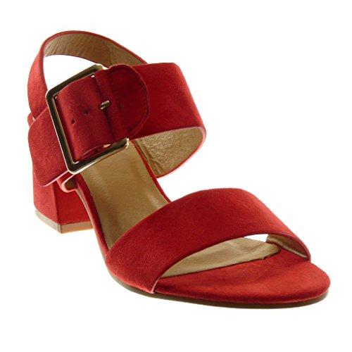 Angkorly Scarpe Moda Sandali Decollete con Tacco con Cinturino Alla Caviglia Donna Fibbia Tanga Tacco a Blocco Alto 5.5 cm Rosso