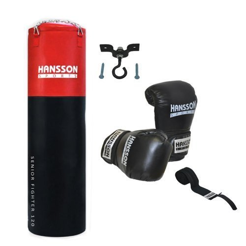 Hansson.Sports Boxset: sacco da boxe 120cm di lunghezza + Guantoni da box 14OZ + Bendaggio +-Supporto da soffitto