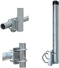 PremiumX Balkonhalter/Mast für Geländer Stahl 50cm mit 2 Schellen Balkon Halterung 42mm Mastverlängerung Geländerhalter Sat