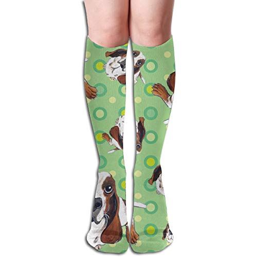 Stocking Basset Hound In Green Multi Colorful Patterned Knee High Socks 19.6Inchs ()