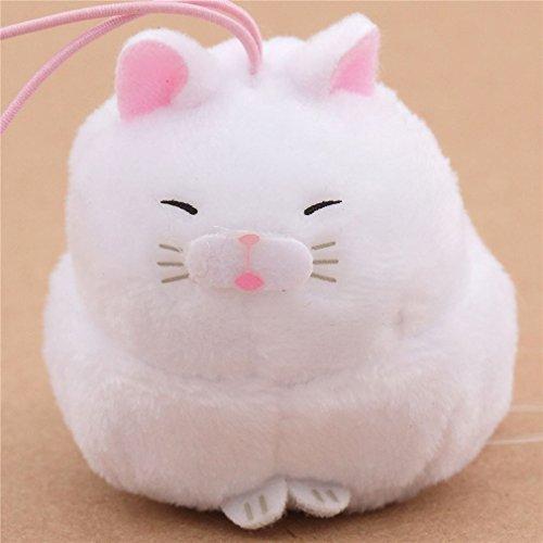 Colgante de peluche pequeño gato blanco con orejas rosas correa rosa Puchimaru