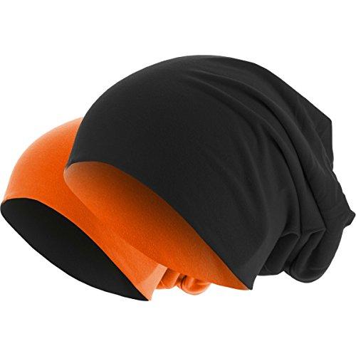 Slouch Long Beanie Reversible Strickmütze 2 in 1 Wintermütze in 48 Farben (orange / schwarz)