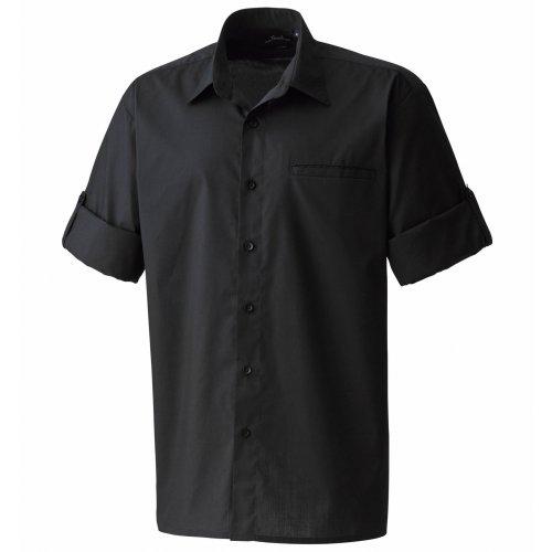 Premier Herren Popelin-Hemd / Arbeitshemd, kurzärmlig (Xlarge) (Schwarz) -