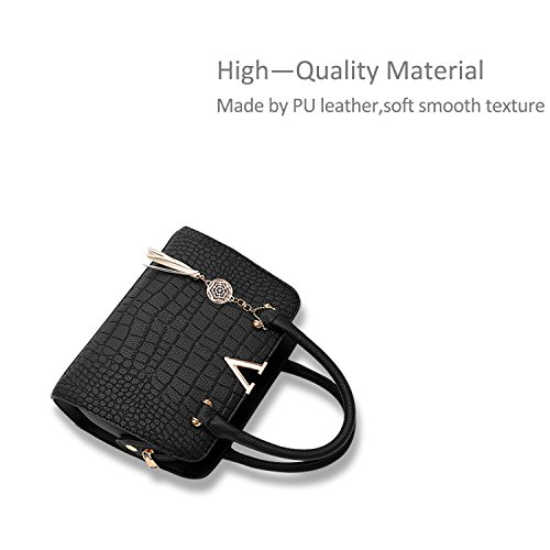 NICOLE&DORIS Mode Frauen Handtaschen Umhängetasche Damenhandtaschen Henkeltaschen Schultertaschen Shopper PU Schwarz Schwarz