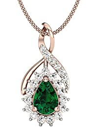 Perrian 18KT Gold, Diamond And Emerald Pendant For Women