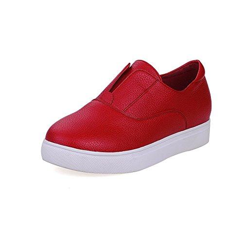 AllhqFashion Femme Pu Cuir Couleur Unie Tire Rond à Talon Bas Chaussures Légeres Rouge