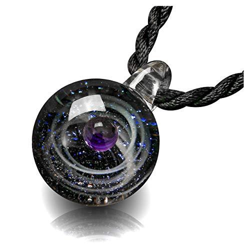 e Damen Herren Blogger Collier Halskette Universum Galaxie Nebel Planet Kugel Anhänger aus Lampwork Glas mit Schwarz Geflochten Hals Seil (Lila EIN Planeten) ()