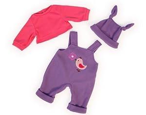 Bayer Design- Ropa para muñecas, Pantalones de Peto con suéter y Gorro, Color Lila, Rosa (83856AA)