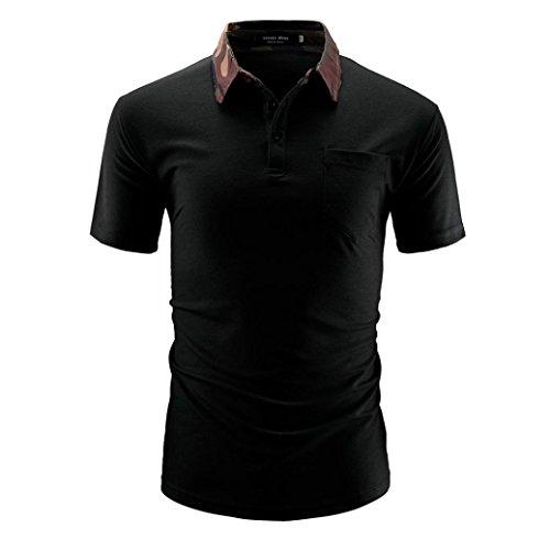 Polo Hemd Herren Männer Einfarbig T-Shirt Männer Lässige Kurzarm Mode Shirts GreatestPAK,Schwarz,M -