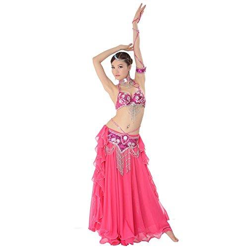 Bauch Tanzen Performance Frau Handmade Diamant Perlen Pailletten Bh Rock Quaste Gürtel Modern Trainieren Kostüm . Rose Red . (Kleid Schwarze Kostüme Bauch Tanzen)