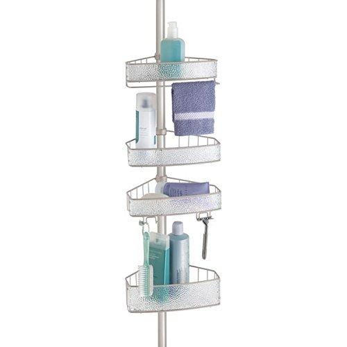 mDesign Estantería de ducha con barra telescópica – Práctico organizador de ducha...