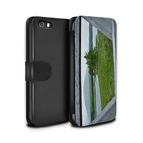 Stuff4 Coque/Etui/Housse Cuir PU Case/Cover pour Apple iPhone SE / Clôture/Lac Design / Campagne Écossais Collection Clôture/Lac