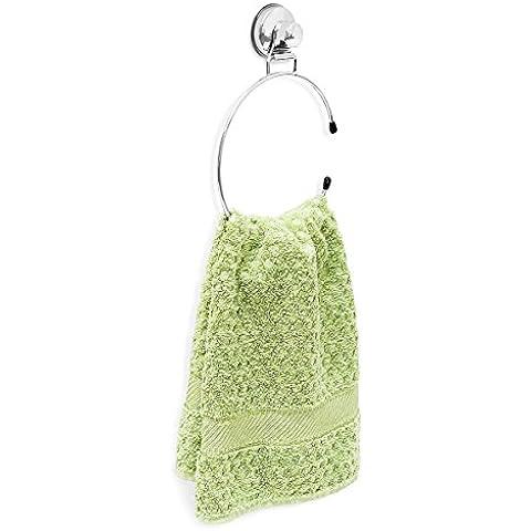 Relaxdays 10018510 - Anillo para toallas con ventosa, hierro revestido, 15,5 x 21,5 x 4 cm