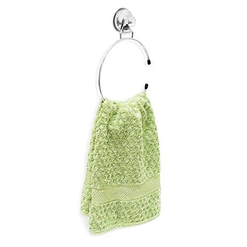 Relaxdays Handtuchring H x B x T: ca. 21,5 x 15,5 x 4 cm selbstklebender Handtuchhalter Hochglanz versilbert runder Wandhandtuchhalter Befestigung ohne Bohren Handtuch Ring für Bad oder Küche, silber