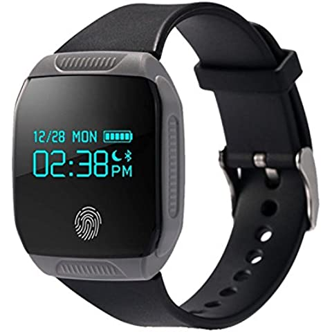 COOSA inteligente Muñequera E07S (E07 Mejor) pulsera de sincronización Actividad Salud impermeable GPS rastreador de ejercicios Bluetooth para Android y Smart Band IOS (gris, E07S)