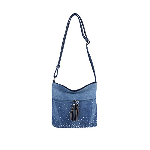 OBC DAMEN JEANS TASCHE SHOPPER Hobo-Bag Crossbody Bag Canvas Nieten Strasssteine Henkeltasche Schultertasche Umhängetasche Handtasche Glitzer (Blau-Blau 17x15x10 cm) (Arbeit Denim Jeans)