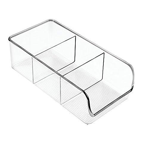 Conteneur de stockage alimentaire, InterDesign Linus, pour cuisine, cellier, réfrigérateur - 14 cm, 3 compartiments, Transparent