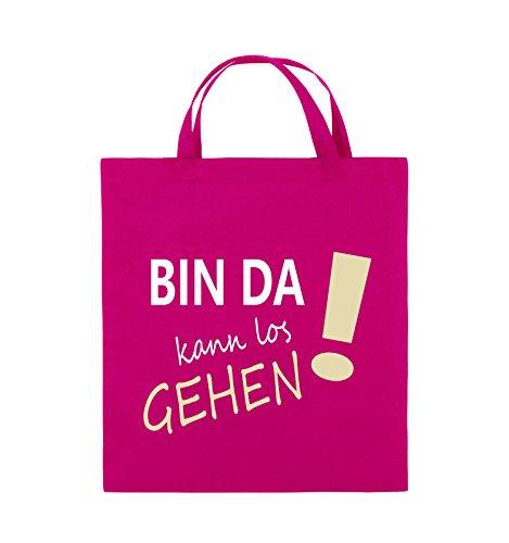Comedy Bags - Bin da kann los gehen! - Jutebeutel - kurze Henkel - 38x42cm - Farbe: Schwarz / Weiss-Neongrün Pink / Rosa-Weiss-Beige