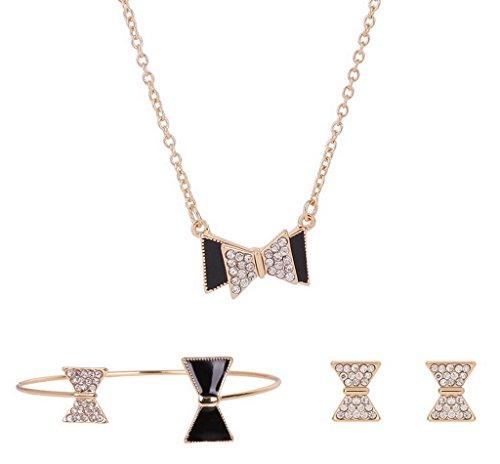 Y-BOA 1 Parure Bijoux Femme Ensemble 3 Pièces Collier Pendentif Bracelet Boucles d'Oreilles Nœud Papillon