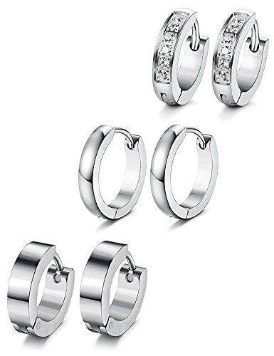 lstahl Männer Ohrringe für Herren Damen Hoop Ohrringe Huggie CZ Piercing Ohr 18G (Günstige Mann-ohrringe)