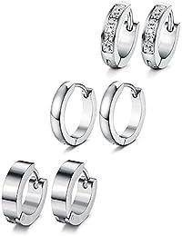 Sailimue 3Pair Stainless Steel Earrings For Men Ladies Huggie Hoop Earrings CZ Ear Piercing 18G