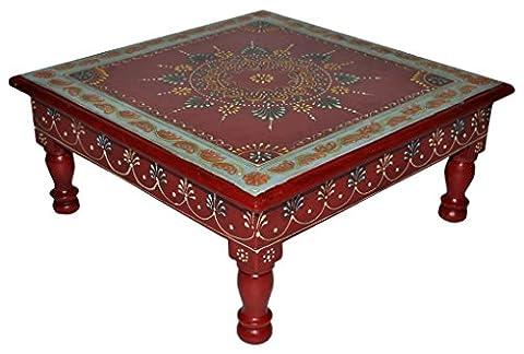 Jaipuri Handmade Painted Wooden Puja Chowki Table Red Color 33 x 33 x 14 Cm