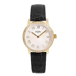 Rotary Para mujer reloj de cuarzo con esfera analogica blanca y dorado correa de piel ls00341/01 de Rotary Timepieces