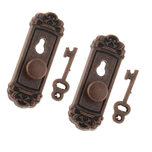 MagiDeal 2 / 4 Stück Puppenhaus Miniatur Tür Schlösser + Schlüsseln Set für 1/12 Puppenstube Tür Zubehör - Bronze - 2 Sets