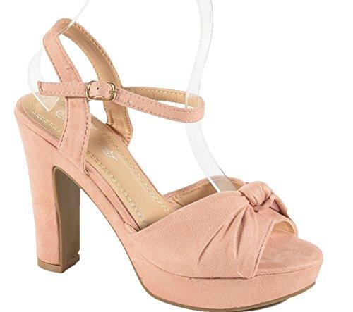 Damen Riemchen Abend Sandaletten High Heels Pumps Slingbacks Velours Peep Toes Party Schuhe Bequem B67 (37, Pink BJ16)