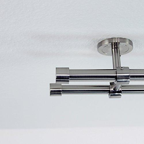 TODAMI 350cm Gardinenstange Edelstahloptik - Ø 20/16 mm - Endstück Mini - 2-läufig - Deckenhalterung