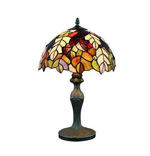 Vintage Tiffany Tischlampen 50 Hoch, Tiffany Tischlampe Antik Original, Glasmalerei Lampen Ahornblatt Schlafzimmer Nacht Lampenschirme Wohnzimmer von FBOSS -