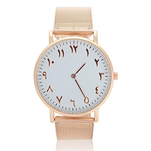 VGEBY1 Frauen Uhr Quarzwerk Edelstahlarmband Analog Round Dial Watch Armbanduhr für 2 Farben Silber Classic & Rose Gold(Gold)