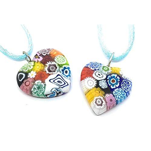Murano Glass Heart Pendant - Multi Coloured Millefiori Heart - Includes Gift Box (ONE SUPPLIED) OxZGm3