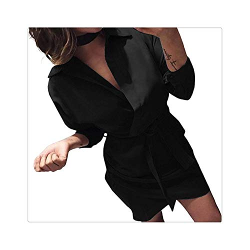 Turn-down Collar Empire Office Party Shirt Dress Women Solid Long Sleeve Spring Summer Dress Sashes Asymmetrical Casual Vestidos Black XL -
