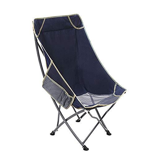DFMD Klappstühle im Freien, stilvolle tragbare Oxford-Stoff-Rückseite Strand-Fischen-Klubsessel-Freizeit-Garten-Grill-Innenaußenschemel (Color : Blue) -