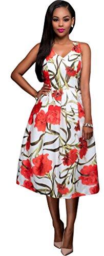 Damen Frauen sexy ärmel mit V-Ausschnitt mit Blumenmuster A-line-Partei Clubwear-Strand-Kleid Farbe