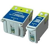 UCI EI T040 T041 [ 2 tinta = 1 x Set ] Compatible tinta cartuchos reemplazo For EPSON Stylus C62, CX3200, impresora, C13T040140, C13T04104010, T040, T041, Black, Colour,