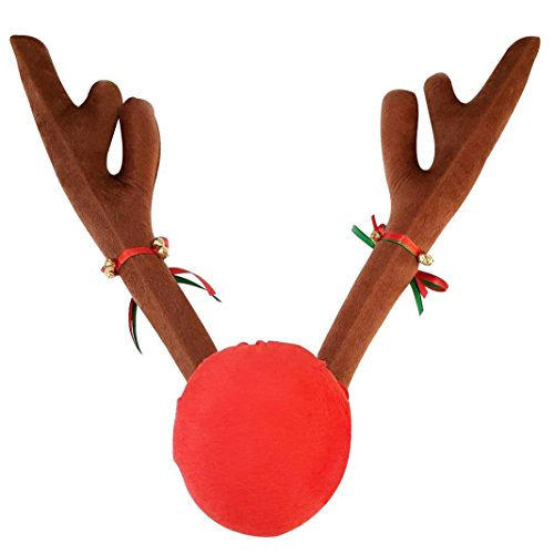 Team Decorazione macchina di Natale peluche Rudolf corna di renna e Red Nose Set con Jingle Bells per l'accessorio del partito dell'automobile, 45CM alto