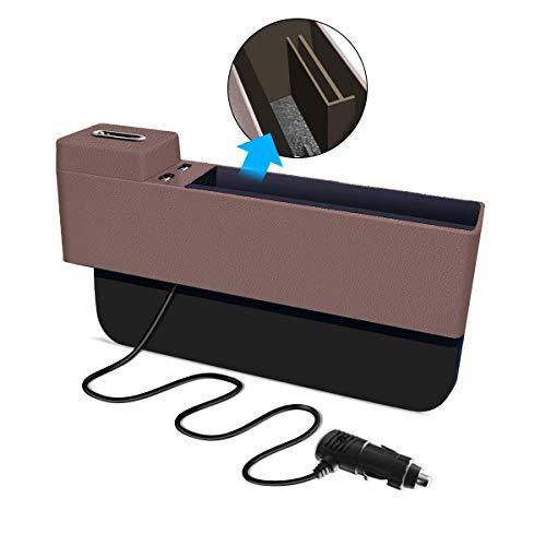 Autositz Seitentasche Organizer mit Dual USB Port und QI Wireless Charging, Münze Sammler Abnehmbare Box, Automotive Konsole Gap Aufbewahrungstasche ungiftig ABS Ingenieur Kunststoff Zubehör für Autos (Elektronik-ingenieur)