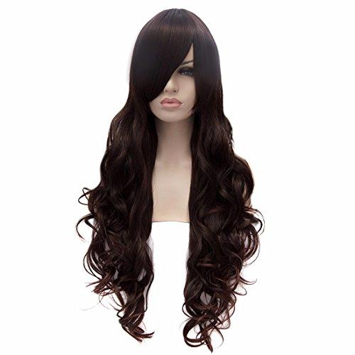 Brun Nouveau Parti Lolita Cosplay Perruque Perruques Noires Résistantes À Long Chaleur Bouclés Ondulés