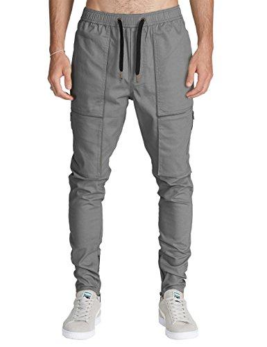 Italy Morn Herren Cargo Chino Hose Sweatpants Sport hose Jogging Baggy Jogging hose Slim Trainingshose Cargo Pants Twill (M, Mitte Grau)