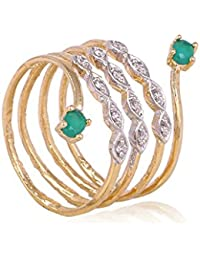 K Mangalam Gold Plated American Diamond Adjustable Size CZ Ring For Women & Girls(Two Tone Plating)- One Gram...