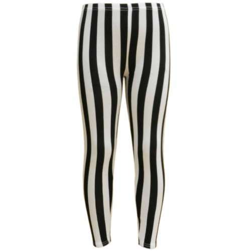 a2z4kids Mädchen Leggins Schwarz Noir - Black & White Vertical Stripes (Black Stripe Leggings)