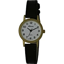 Ravel Large Case Fashion on PU Strap Women's Quartz Watch with White Dial Analogue Display and Brown Plastic Strap R0102.01.2