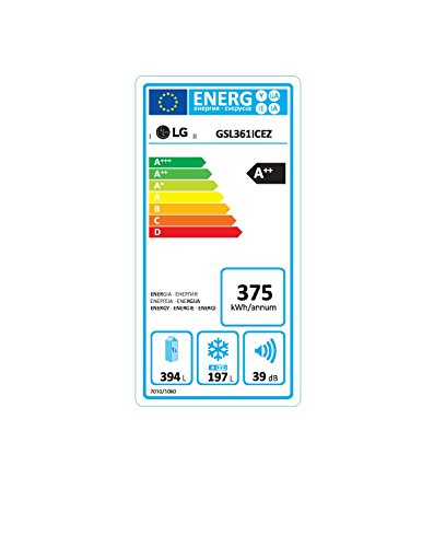 LG Electronics GSL 361 ICEZ Side by Side/A++/375 kWh/Jahr/179 cm/394 L Kühlteil/197 Gefrierteil/dunkel graphite/Digitaldisplay mit Temperaturregelung/No Frost