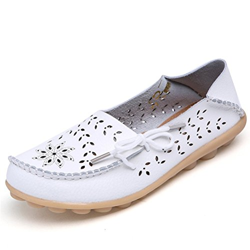 Vogstyle Damen Casual Slipper Flatschuhe Low-Top Schuhe Erbsenschuhe Art 2 Weiß 39 (Low Top Schuhe)