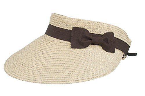 FENGFA Visoren Long Brim Empty Top Hüte Damen Sommer Sonnen Visor Sonnenschutz (Beige) Stroh Top