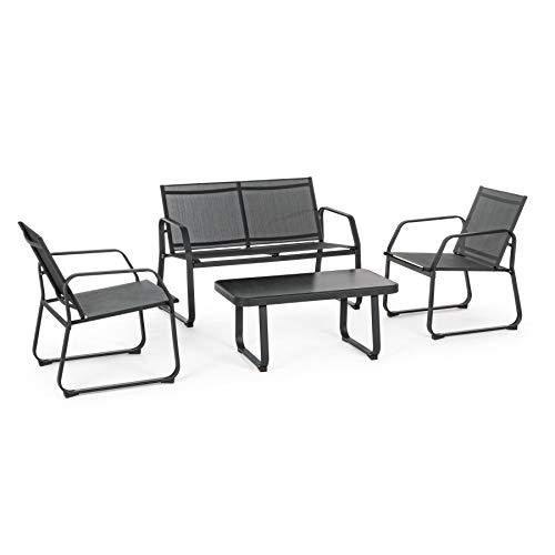 ARREDinITALY Ensemble Salon pour extérieur canapé + 2 fauteuils et Table Basse Anthracite