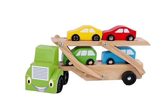2 Play Autotransporter mit 4 PKW\'s, aus Holz (Doppeldecker Anhänger mit 4 Autos, LKW mit beweglicher oberer Ladefläche), Größe 31 x 14 x 7 cm - hochwertiges Holzspielzeug mehrfarbig - 610149