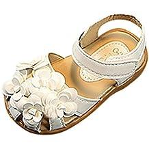 Topgrowth Sandali per Bambina Eleganti Sandali Punta Aperta Sandali Romani Ragazze Velcro Sandali Bimba Partito Principessa Scarpe (24, Bianca)